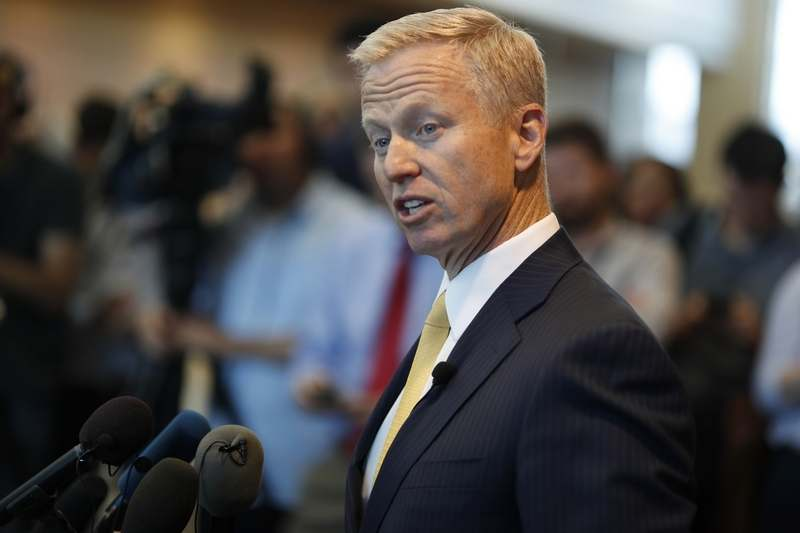 District Attorney George Brauchler makes a point during a news conference after a court hearing for the suspects in the STEM Highlands Ranch School assault Wednesday, May 15, 2019, in Castle Rock, Colo.. (AP Photo/David Zalubowski)