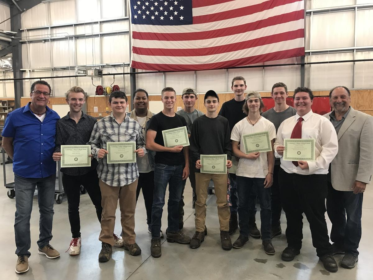Left to right, instructor Jude Pescatello, Mike Barney, Justin Reid, Jonathon Chanthamert, Wyatt Werling, Riley Burnside, Ian Cote, Mike Young, Kolin Fritscher, James Tuttle, Jeremy Ritchie and instructor John Koussa. Not pictured: Malcolm Lewis. (photo submitted)