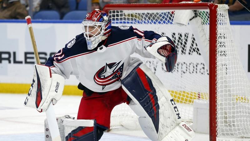 Then-Columbus goalie Sergei Bobrovsky looks on during the third period of a March 31 game against the Sabres in Buffalo, N.Y. Florida signed goalie Sergei Bobrovsky to a seven-year contract. A person with knowledge of the signing says Bobrovsky's deal is worth $70 million for a salary-cap hit of $10 million per season. The person spoke to The Associated Press on condition of anonymity Monday because the team did not announce the terms of the contract. (Jeffrey T. Barnes/AP Photo)