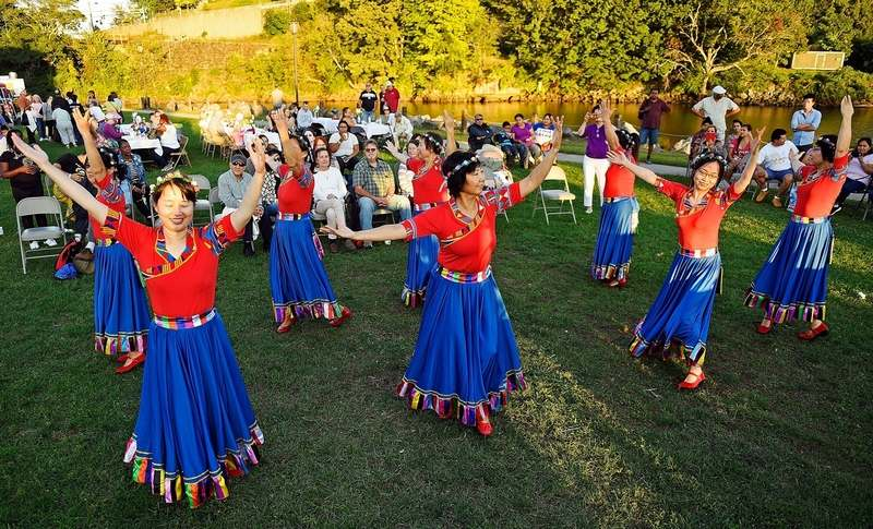 The Southeastern Connecticut Chinese School Folk Dancers perform during the Norwich Rotary Celebrate Diversity festival Monday, Sept. 16, 2019 at Howard T. Brown Memorial Park.  (Sean D. Elliot/The Day)