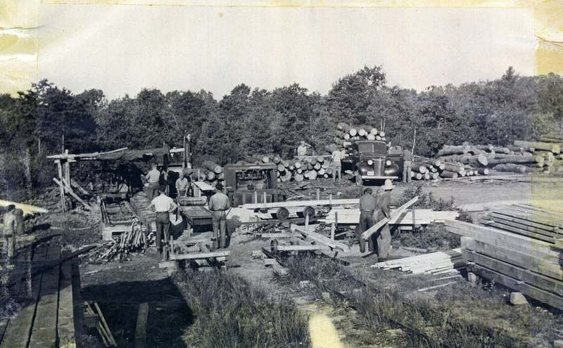 Logs were brought to the state sawmill in Voluntown and turned into lumber for use in state projects. (Thurlow Coats)