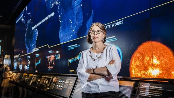 Lauri Halderman, vice president for exhibition, in front of the permanent installation of the interactive climate change exhibit at the American Museum of Natural History in New York. (Photo for The Washington Post by Chris Sorensen)