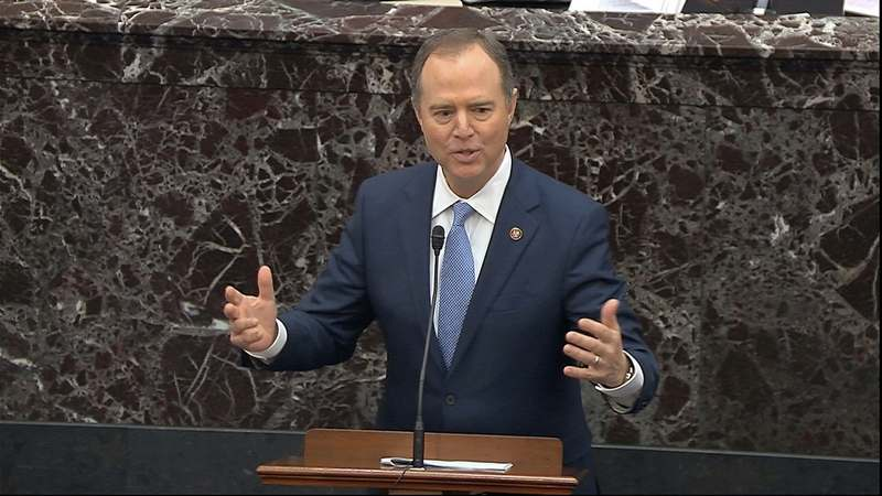 In this image from video, impeachment manager Rep. Adam Schiff, D-Calif., speaks during the impeachment trial against President Donald Trump in the Senate at the U.S. Capitol in Washington, Tuesday, Jan. 21, 2020. (Senate Television via AP)
