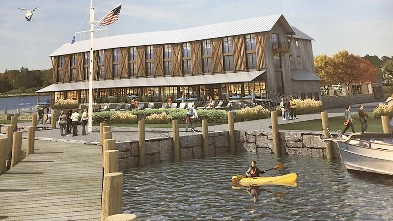 This photo of an artist rendering shows the new hotel and restaurant proposed at Mystic Seaport Museum, as it would be seen from the Mystic River. The museum plans to demolish the Latitude 41 restaurant to construct the new facility. (Joe Wojtas/The Day)