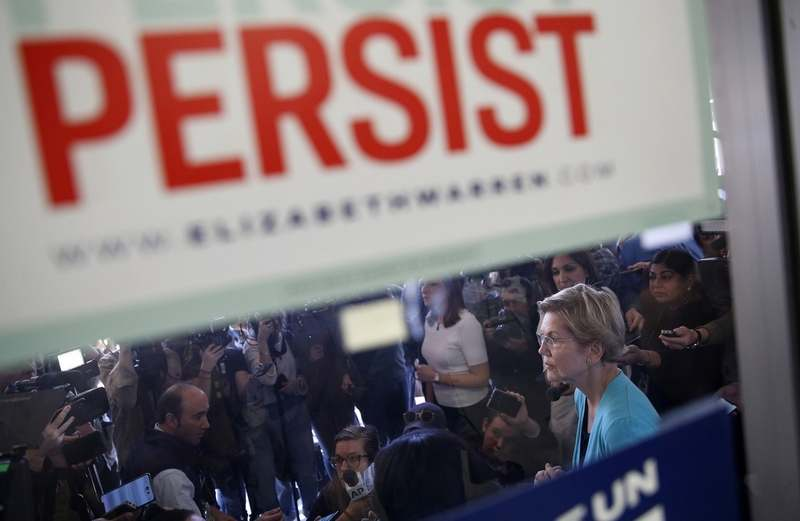 Democratic presidential candidate Sen. Elizabeth Warren, D-Mass., pauses as she speaks with the media at a campaign office, Thursday, Feb. 20, 2020, in North Las Vegas, Nev. (AP Photo/John Locher)