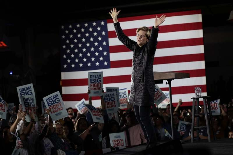 Democratic presidential candidate Sen. Elizabeth Warren, D-Mass., addresses supporters during a town hall in San Antonio, Thursday, Feb. 27, 2020. (AP Photo/Eric Gay)