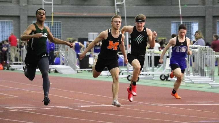 Kole Thurston, second from left, moved to Montville from Hawaii prior to his senior year and was part of the Indians' cross country and indoor track teams. He was third in the 55 meters at the ECC Division II meet indoors and eighth in Class S. (Photo courtesy of Kole Thurston)
