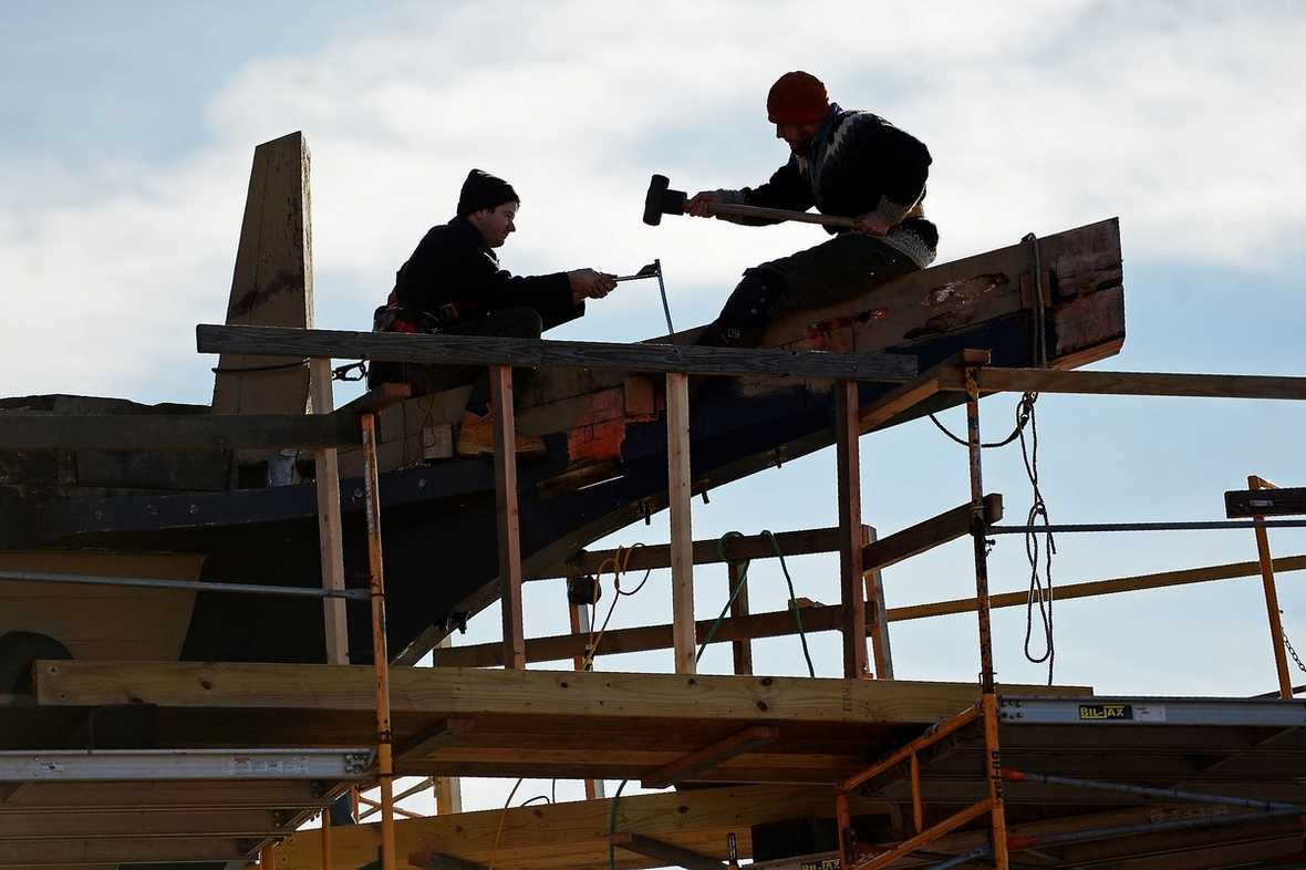 Shipwrights work on the Mayflower II Tuesday, December 13, 2016 at Mystic Seaport's H.B. duPont Preservation Shipyard. The ship, a replica of the vessel that brought the Pilgrims to the new world in 1620 and built in 1957 in England as a gift to the United States in thanks for support during and after WWII, is an attraction at Plimoth Plantation in Plymouth, Massachusetts and will be undergoing a 30-month restoration at the seaport in preparation to sail it again on the 400th anniversary of the Pilgrim's voyage.  (Sean D. Elliot/The Day)