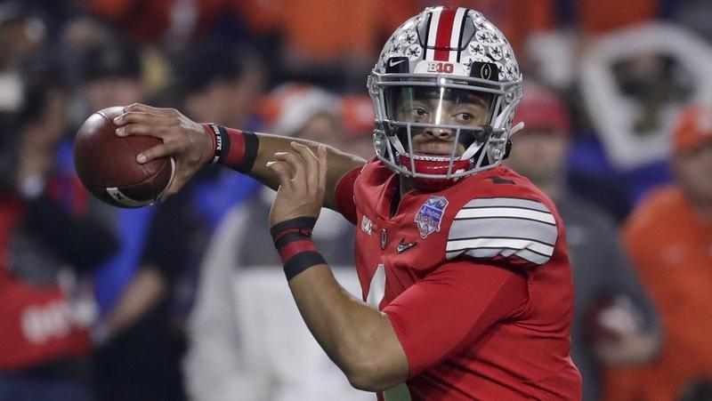 Ohio State quarterback Justin Fields throws a pass against Clemson during the first half of the Fiesta Bowl NCAA college football playoff semifinal on Dec. 28, 2019 in Glendale, Ariz. (Rick Scuteri/AP Photo)