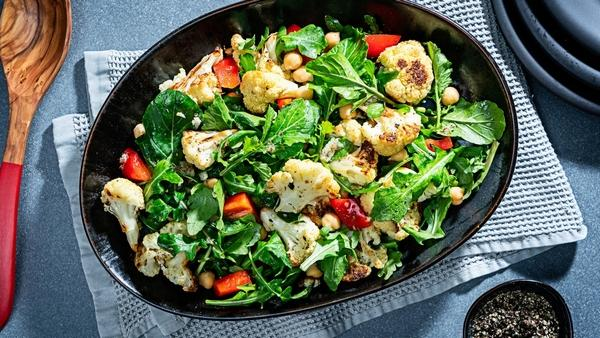 Roasted Cauliflower Salad With Chickpeas, Red Pepper and Arugula (Photo by Scott Suchman for The Washington Post)