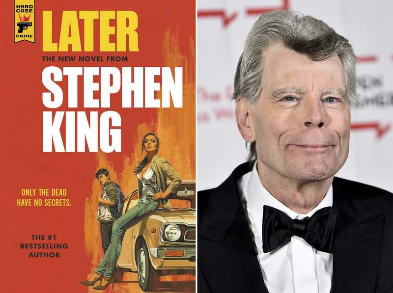 "This combination photo shows the cover of 'Later,' left, and author Stephen King. Readers may know him best for ""Carrie,"" ""The Shining"" and other bestsellers commonly identified as ""horror,"" but King has long had an affinity for other kinds of narratives, from science fiction and prison drama to the Boston Red Sox. (Hard Case Crime via AP, left, and AP)"