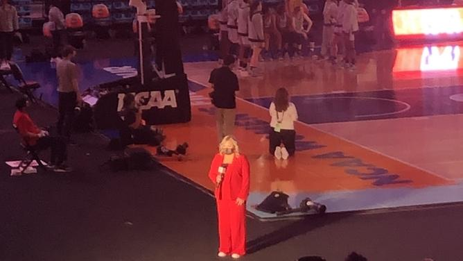 I was so close to the court Friday night, I could even see ESPN sideline reporter Holly Rowe. (Vickie Fulkerson/The Day)