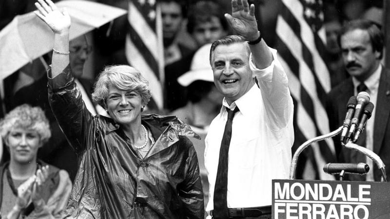 In this Wednesday, Sept. 5, 1984, file photo, Democratic presidential candidate Walter Mondale and his running mate, Geraldine Ferraro, wave as they leave an afternoon rally in Portland, Ore. Mondale, a liberal icon who lost the most lopsided presidential election after bluntly telling voters to expect a tax increase if he won, died Monday, April 19, 2021. He was 93. (AP Photo/Jack Smith, File)