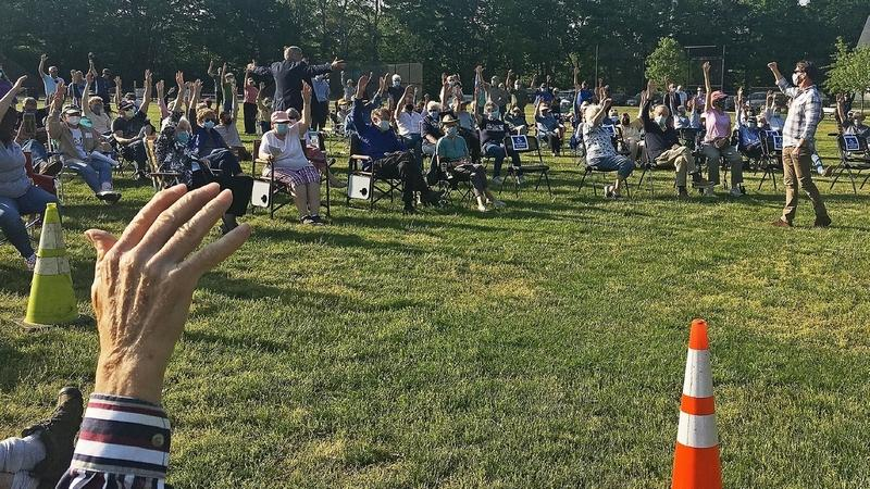 Of the 212 voters at the annual town meeting on Wednesday, May 19, 2021, in Lyme, 202 raised their hands in support of a resolution to set the savings target for the open space reserve fund at $1 million.(Elizabeth Regan/The Day)