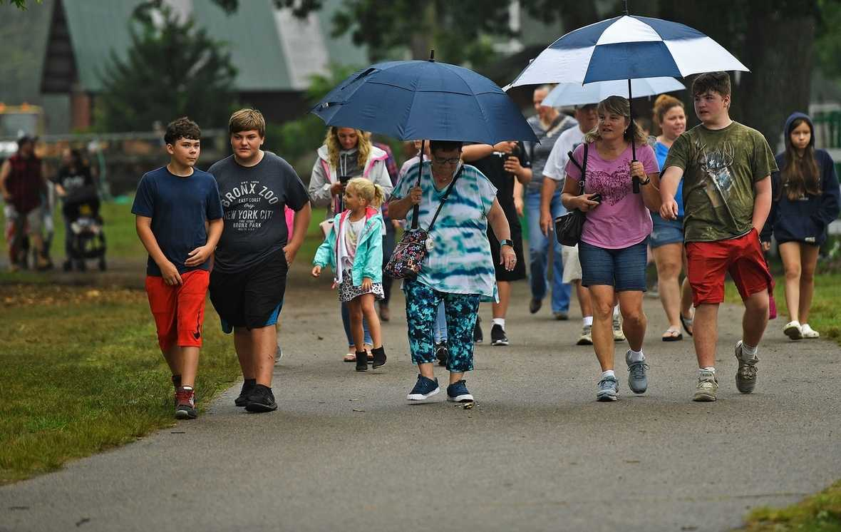 Fairgoers arrive Thursday, July 8, 2021, for the opening day of the North Stonington Agricultural Fair.  (Sean D. Elliot/The Day)