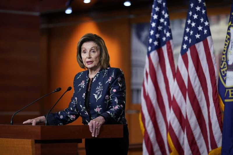 In this July 22, 2021, file photo, Speaker of the House Nancy Pelosi, D-Calif., meets with reporters at the Capitol in Washington. (AP Photo/J. Scott Applewhite, File)