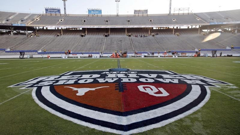 The Red River Showdown logo is displayed on the field of the Cotton Bowl prior to a game between the Texas and Oklahoma on Oct. 10, 2020 in Dallas (Michael Ainsworth/AP Photo)
