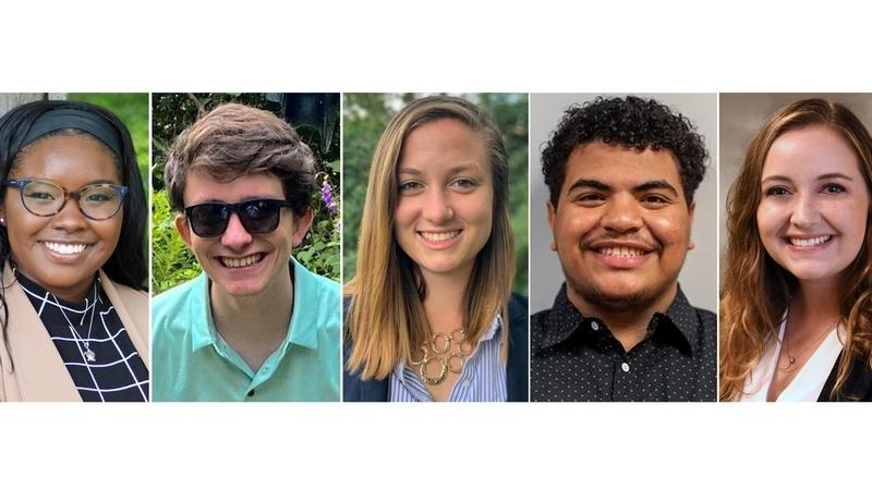 From left, Democrat Grace Carlos, 21, is running for the Montville Board of Education; Republican David Sugrue, 19, and Democrat Jennifer Kohl, 23, are running for the Waterford Representative Town Meeting; Democrat Danni Cruz, 18, is running for the New London Board of Education and Republican Olivia Fairchild, 23,is running for East Lyme Planning Commission alternate. (Submitted photos)