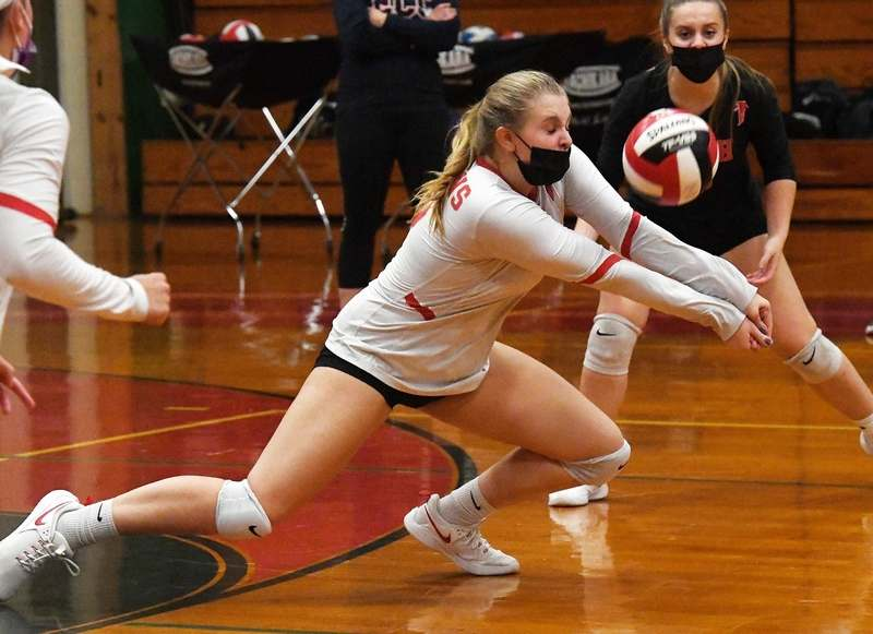 Fitch´s Katie Tuohy (15) bumps the ball during a volleyball match against Lyman Memorial on Thursday at Fitch High School in Groton.  (Dana Jensen/The Day)